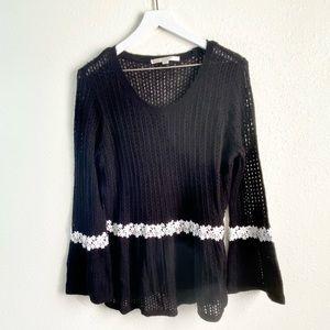 LC Lauren Conrad Crocheted Black Top Size XL